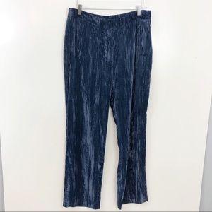 Topshop | Blue Velvet High Waisted Trousers